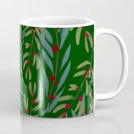 Holly berry,mistletoe,eucalyptus Christmas festive green pattern  Coffee Mug