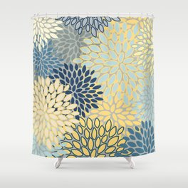 Floral Print, Yellow, Gray, Blue, Teal Shower Curtain