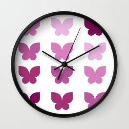 Butterflies in Purple Ombre Wall Clock