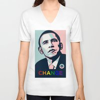 obama V-neck T-shirts featuring Obama LGBT by HUMANSFOROBAMA