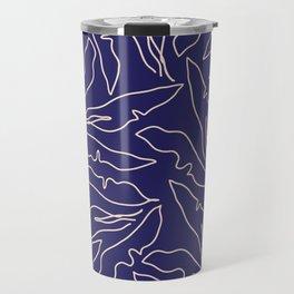 Banana Leaves Line Art Pattern / Navy Blue Travel Mug
