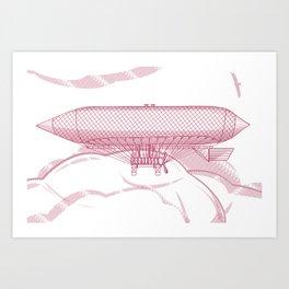 Airship 2, vector engraving Art Print