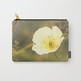White Poppy On A Green Background #decor #society6 Carry-All Pouch