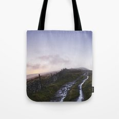 Mountain path and fence at sunset. Derbyshire, UK. Tote Bag