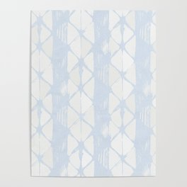 Simply Braided Chevron Sky Blue on Lunar Gray Poster