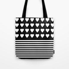 Heart Stripes White on Black Tote Bag