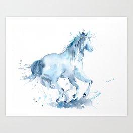 Watercolor Horse Galloping Art Print