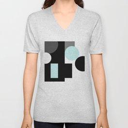 An abstract geometric pattern . Geometric shapes . Black sky blue white pattern . Unisex V-Neck