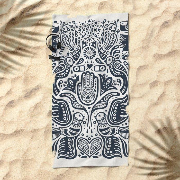 Folklore Pattern Beach Towel
