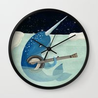 banjo Wall Clocks featuring Narwhal's Aquarelle - Narwhal Plays Banjo by Prelude Posters