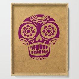 Inca Skull Cornsilk Darkviolet Serving Tray