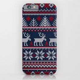 Ugly sweater Merry Christmas Happy New Year vintage nodric illustration knitted pattern folk style scandinavian ornaments. Navy, red, blue colors. iPhone Case