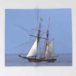Tall ship Sailing the mighty Saint-Lawrence Throw Blanket