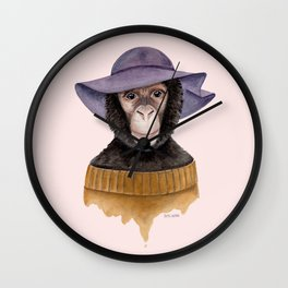 C is for a Cozy Chimpanzee | Watercolor Monkey Wall Clock