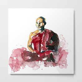 Meditating monk Metal Print