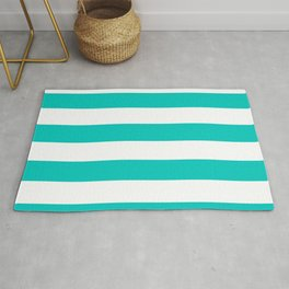 Turquoise and White Thick Horizontal Stripes Rug