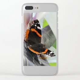 Red Admiral on a White Bird of Paradise Bloom Clear iPhone Case