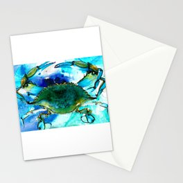 Blue Crab - Abstract Seafood Painting Stationery Cards