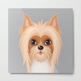 Sliky terrier. Dog face illustration Metal Print