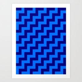 Brandeis Blue and Navy Blue Steps RTL Art Print