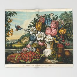 Landscape, Fruit and Flowers Throw Blanket