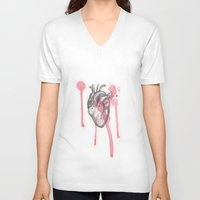 battlefield V-neck T-shirts featuring My Heart is like a Battlefield by ArtLm