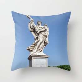 Angel with the Cross at the Sant'Angelo bridge - Rome, Italy Throw Pillow
