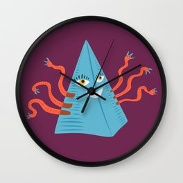 Weird Blue Pyramid Character With Tentacles Wall Clock