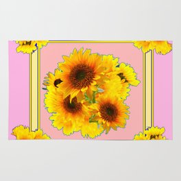YELLOW SUNFLOWER BOUQUETS ON PINK Rug