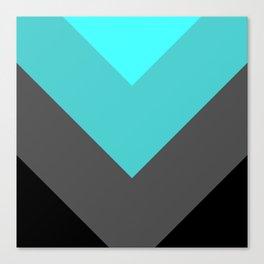 Aqua Gray Chevron Stripes Canvas Print