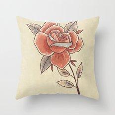 Rose on a Stem Throw Pillow