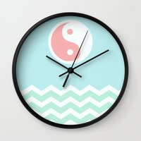 sun and moon Wall Clocks featuring Sun Moon Lake by Beautiful Homes