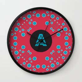 stylish seamless geometric abstraction with circles and lines with blue text on red background Wall Clock