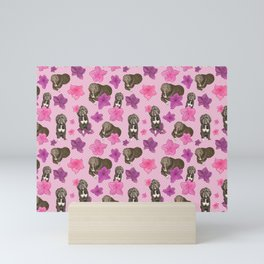 Fluffy Dogs and Azalea Flowers on Pink Geometric Pattern Mini Art Print