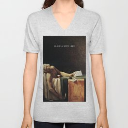 The death of Marat with Have a Nice Life logo Unisex V-Neck