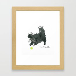 Scruffy Black Dog and a Tennis Ball Framed Art Print