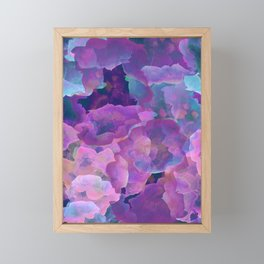 Purple, teal and blue abstract watercolor clouds Framed Mini Art Print