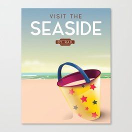 Visit the Seaside travel poster Canvas Print