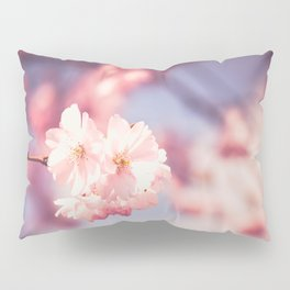 Pink Single Cherry Blossom Abstract Close Up Spring Nature Art Pillow Sham