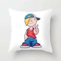 hip hop Throw Pillows featuring Hip Hop Cartoon Boy by pixaroma