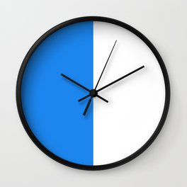 White and Dodger Blue Vertical Halves Wall Clock