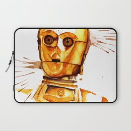 C3 PO Droid Star Space Watercolor Paint Rebel Laptop Sleeve