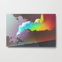 Man Running with Colorful Flare Metal Print