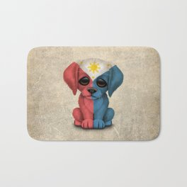 Cute Puppy Dog with flag of The Philippines Bath Mat