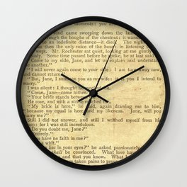 Jane Eyre, Mr. Rochester First Marriage Proposal by Charlotte Bronte Wall Clock