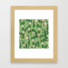 Cacti Camouflage, Green and White Framed Art Print