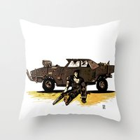 mad max Throw Pillows featuring MAD MAX by Gregory Casares