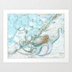 Key Largo Octopus Art Print