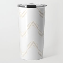 Simply Deconstructed Chevron White Gold Sands on White Travel Mug