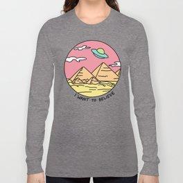 Ancient Aliens Pyramids Funny UFO Eyptian 90s Print Long Sleeve T-shirt